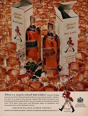1959 Johnnie Walker Scotch Whisky Red & Black Label Boxes Glasses Christmas Ad