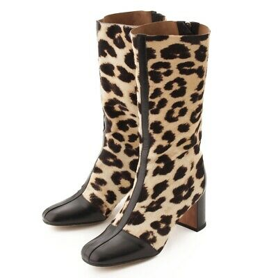 983fccff41c Authentic Celine Harako Leopard Middle Boots Beige Black Grade Ab Used - At