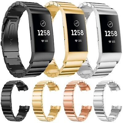 Metal Link Bracelet Wristwatch Strap Band For Fitbit Charge 3 Activity Tracker