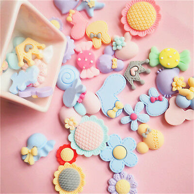 20pcs Candy Color Resin Flatback Slime Charms for Ornament Scrapbook DIY Crafts