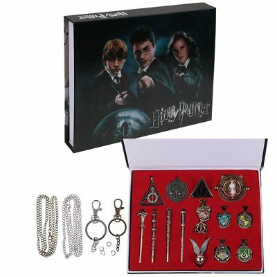15Pcs Harry Potter Hermione Sirius Crest Ring Necklace Keyring Magic Wand Gift