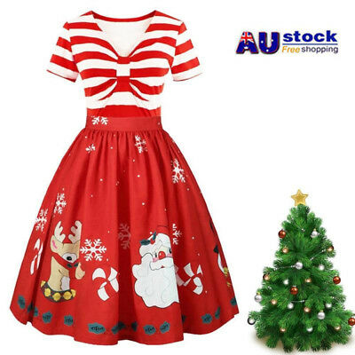 Women's 2019 Christmas Dress Vintage Printing Short Sleeve Stitching Flare Dress