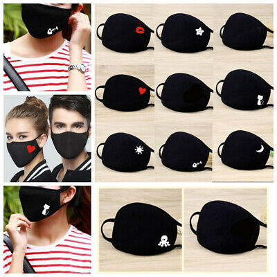 Unisex Cotton Face Masks Pattern Solid Black Mask Half Face Mouth Muffle