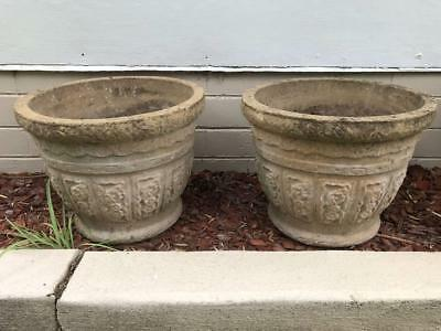 2x Pair Vintage Retro Concrete Grey Square pots planter atomic style garden
