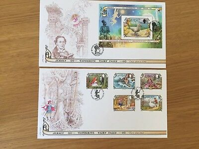 Unaddressed Jersey FDC First Day Cover 2005 Fairy Tales Sheet X2 Bundle