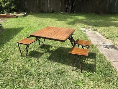 Vintage retro folding wooden metal picnic camping carry outdoor table set chairs