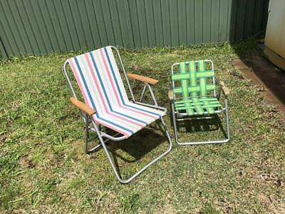 2x Vintage Retro outdoor beach Folding Chairs Camping Garden