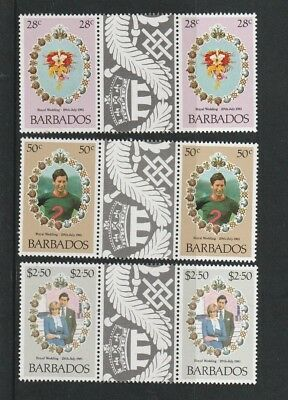BARBADOS 1981 ROYAL WEDDING SET OF ALL 3 COMMEMORATIVE STAMPS TAB GUTTERS MNH b