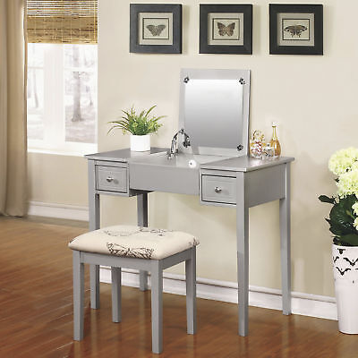 Linon Butterfly Vanity Wooden Mirror Table Bench Chair Set
