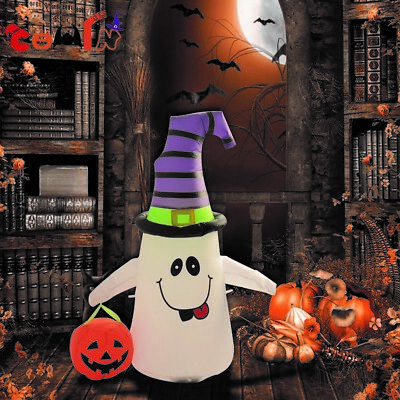 4ft Halloween Inflatable Ghost Holding Pumpkin Lantern Yard Outdoor Decorations