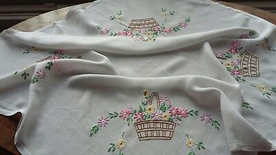"""BEAUTIFUL  Vintage Hand Embroidered  Tablecloth . 32"""" X 32"""" Superb. COLOURS"""