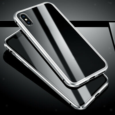Luxury Tempered Glass Cover Magnetic Adsorption Metal Case For iPhone X/XS