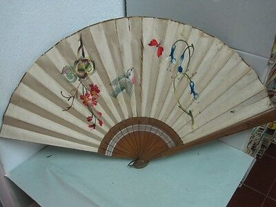 Antique big craved Fan wood and fabric hand painted and embroidered flowers
