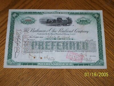 Baltimore and Ohio Railroad Company Stock Certificate. Green. Issued 1920's