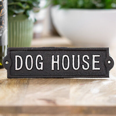 Vintage Cast Iron Dog House Kennel Wall Sign Outdoor Garden Shed Garage Plaque