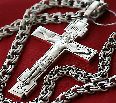 Big Men Russian Orthodox Save Protect Necklace Prayer Crucifix+Chain Silver 925