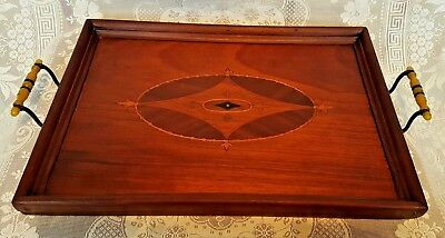 Vintage Wooden Two Handled Inlaid Tray