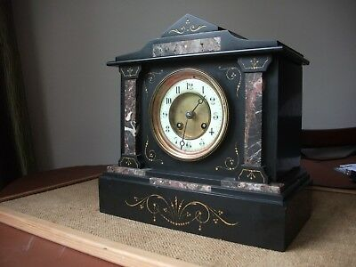 Antique French Black Slate With Marble Inserts