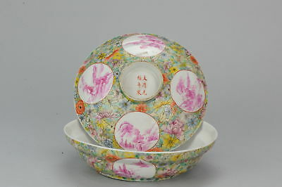 20C Large Lidded Bowl Caligraphy Landscape Pink Chinese Porcelain Dish Guangxu