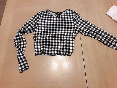 Girls Checked Crop Top