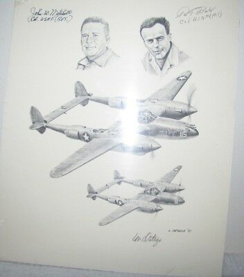 WWII, Colonels John W Mitchell & Rex T Barber, Print with Original Signatures