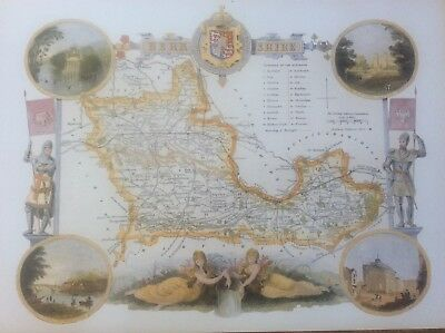 """Berkshire Antique Colour Map by Thomas Moule County Maps of Old England 14""""x10"""""""
