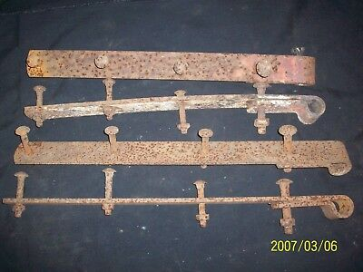 4 Antique Barn Door Strap Hinges Hand Forged Wrought Iron Hardware Steampunk