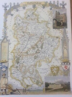 """Bedfordshire Antique Colour Map Thomas Moule County Maps of Old England 14""""x10"""""""