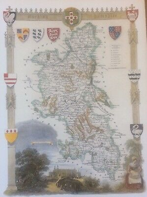 """Buckinghamshire Antique Colour Map Thomas Moule County Maps of Old England 14"""""""