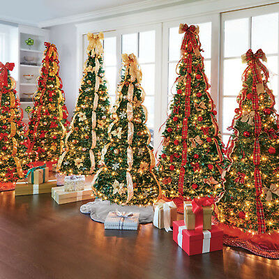 New Pre Lit 6 Ft Pop Up Pull Up Artificial Christmas Tree Pre