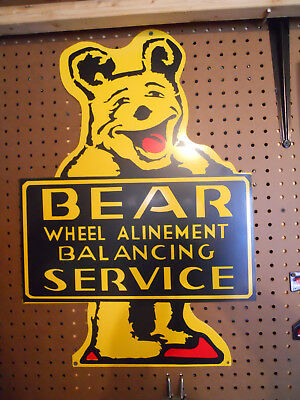 """Old Style """"Bear Wheel Alignment Balancing Service"""" Sign...Metal 25x17"""