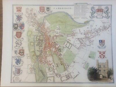 """Cambridge Antique Colour Map by Thomas Moule County Maps of Old England 14"""""""