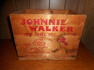 Vintage Johnnie Walker Red Label Scotch Whisky Wood Crate Box