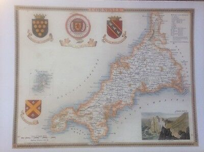 """Cornwall Antique Colour Map by Thomas Moule County Maps of Old England 14"""""""