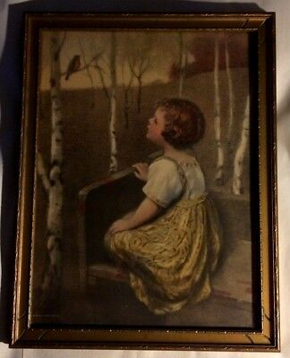 "Original Print ""spring Song"" Samuel Schiff Co. N.y.his Own Daughter & Robin"