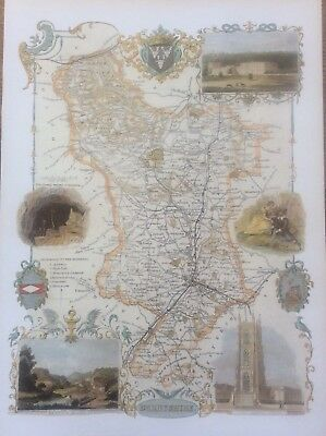 """Derbyshire Antique Colour Map by Thomas Moule County Maps of Old England 14"""""""