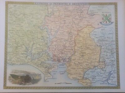 """Plymouth Antique Colour Map by Thomas Moule County Maps of Old England 14"""""""