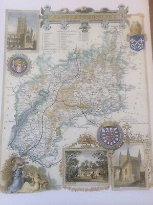 """Gloucestershire Antique Colour Map Thomas Moule County Maps of Old England 14"""""""