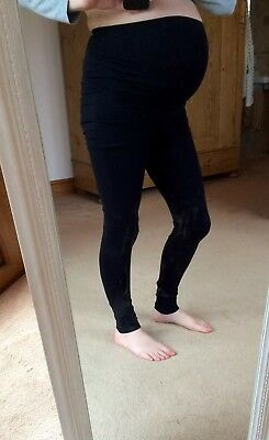 * H&M MAMA Black Maternity Ponte Leggings Over Bump Size XS UK 8 *