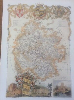 """Herefordshire Antique Colour Map by Thomas Moule County Maps of Old England 14"""""""