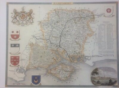 """Hampshire Antique Colour Map by Thomas Moule County Maps of Old England 14"""""""