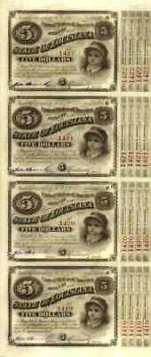 4 x BABYBOND State of Louisiana Chicago 1881 - not cancelled with 6 cupons 5 $