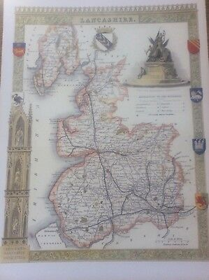 """Lancashire Antique Colour Map by Thomas Moule County Maps of Old England 14"""""""