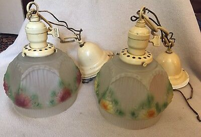 Pair of ANTIQUE Turn of Century HANGING LIGHTS  w/PAINTED GLASS SHADES