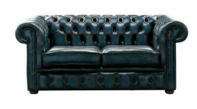 Chesterfield Handmade 2 Seater Antique Blue Leather Sofa Settee