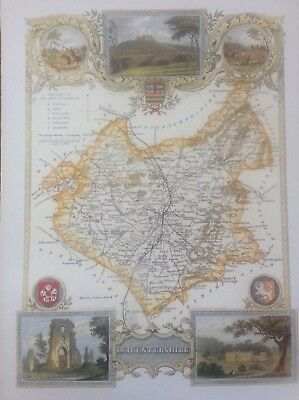 Leicestershire Antique Colour Map by Thomas Moule County Maps of Old England 14""