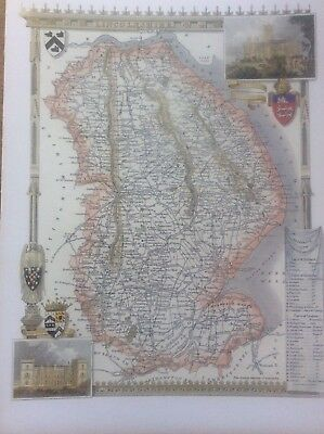 """Lincolnshire Antique Colour Map by Thomas Moule County Maps of Old England 14"""""""