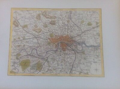 """London Antique Colour Map by Thomas Moule County Maps of Old England 14"""""""
