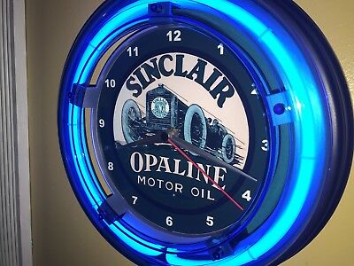 *** Sinclair Opaline Oil Gas Station Garage Man Cave Blue Neon Wall Clock Sign