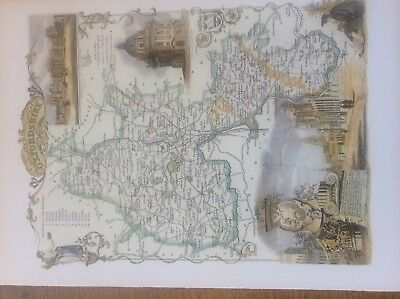 """Oxfordshire Antique Colour Map by Thomas Moule County Maps of Old England 14"""""""